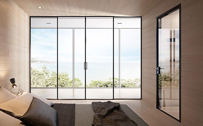 Pareti Di Vetro Scorrevoli : Porte a vetro e pareti vetrate bergamo c serramenti